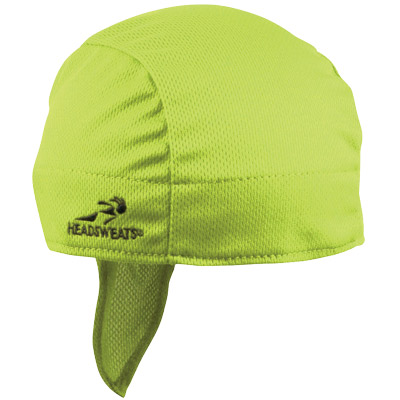 Headsweats Shorty Black Gears Cycling Cap Hi Viz Yellow Super Duty Bike